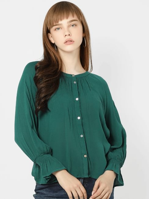 Green Cuffed Sleeves Top