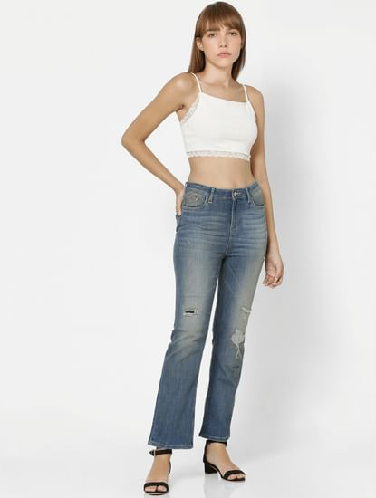 UNIQUE Light Blue High Rise Kick Flare Distressed Jeans