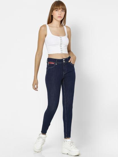 UNIQUE Dark Blue High Rise Skinny Fit Jeans