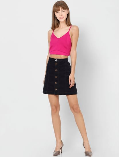 Pink Sleeveless Crop Top