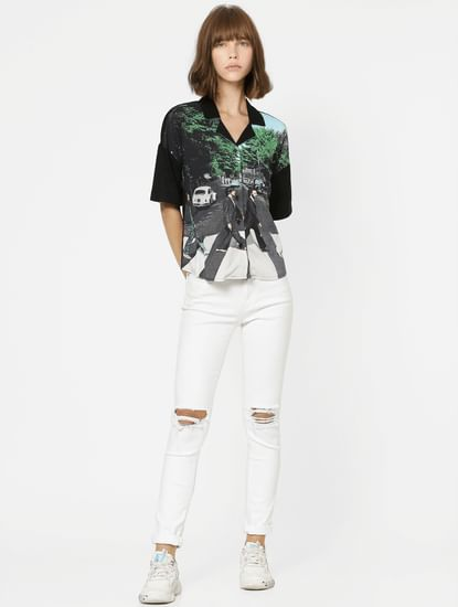 X The Beatles Black Abbey Road Print Shirt