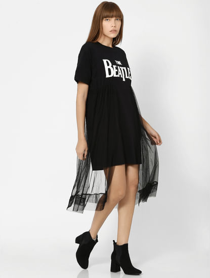 X The Beatles Black Mesh Attached Midi Dress