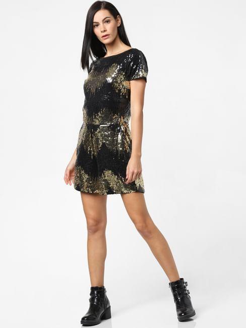 Black Sequin Embellished Playsuit