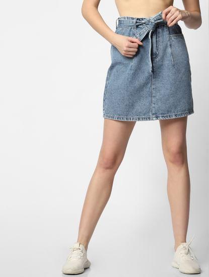 Blue High Rise Washed Denim Skirt