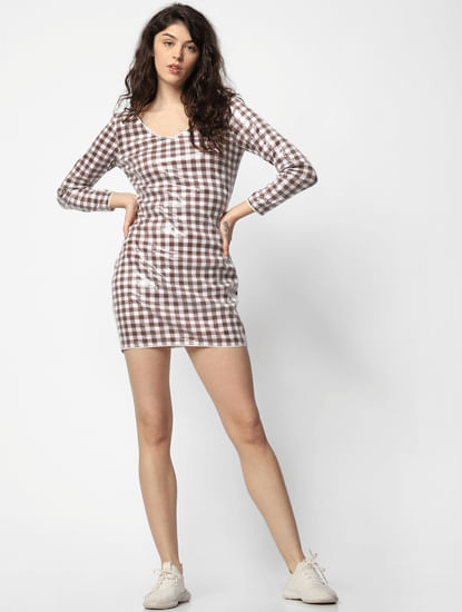 White Check Sequin Detail Dress