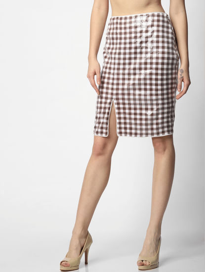 White Mid Rise Check Sequin Skirt