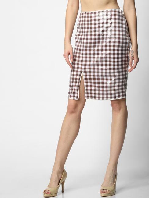White Mid Rise Check Sequin Skirt