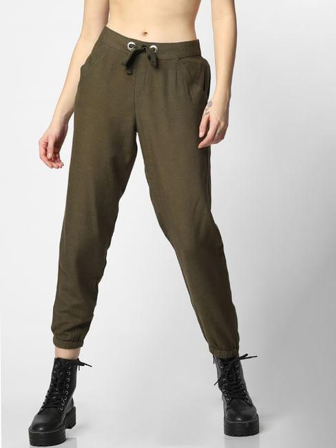Green Mid Rise Drawstring Pants