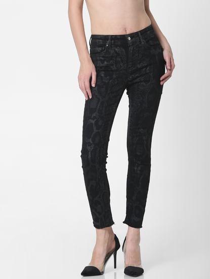 Black Mid Rise Snakeskin Print Skinny Jeans