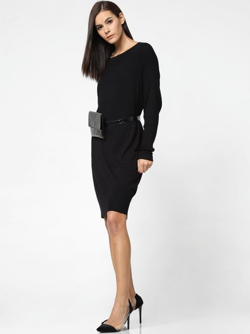 Black Boatneck Shift Dress