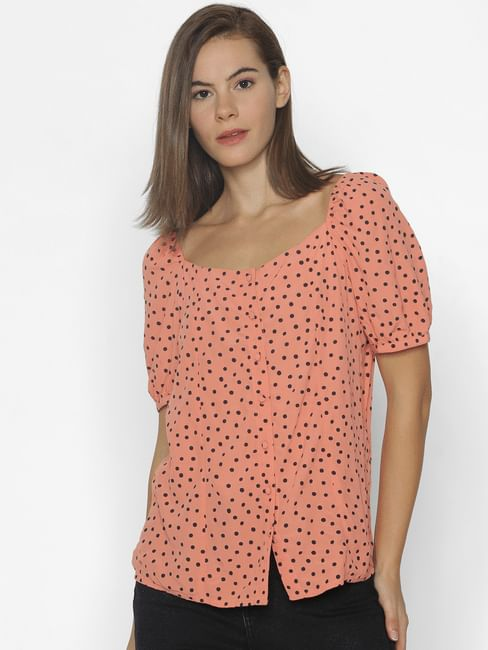 Coral Polka Dot Print Top
