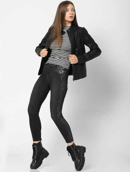 Black Mid Rise Animal Print Detail Skinny Jeans
