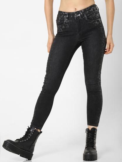 Black Mid Rise Animal Print Detail Skinny Jeans