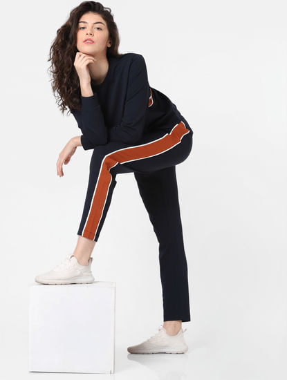 Navy Blue Tape Detail Trackpants
