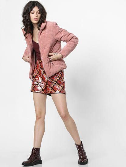 Red High Rise Embellished Shorts