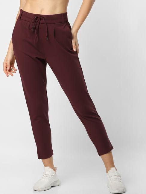 Burgundy Mid Rise Drawstring Pants