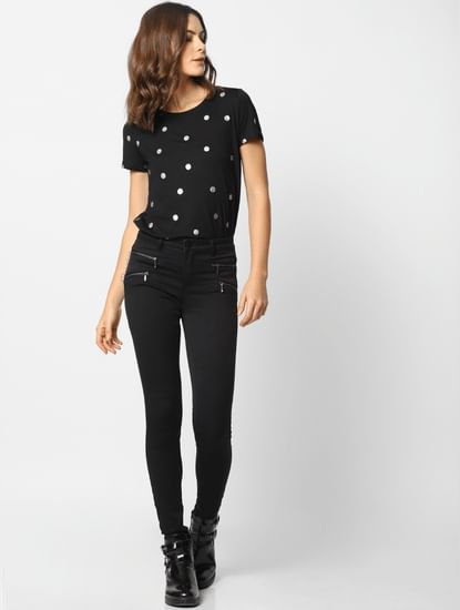 Black Mid Rise Zip Detail Skinny Fit Jeans