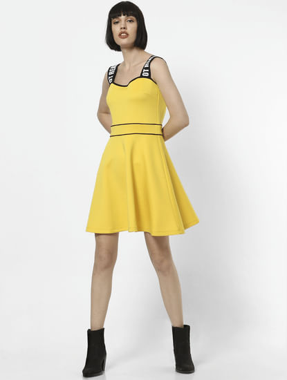 Yellow Shoulder Straps Fit & Flare Dress