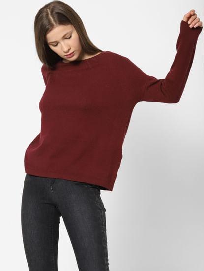 Burgundy Drop Shoulder Pullover