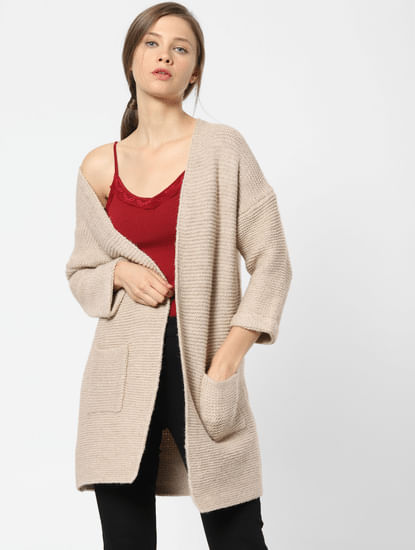 Light Brown Front Open Cardigan
