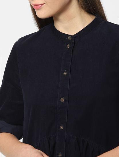 Navy Blue Corduroy Flared Shirt Dress