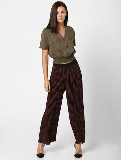 Navy Blue Mid Rise Pleated Pants