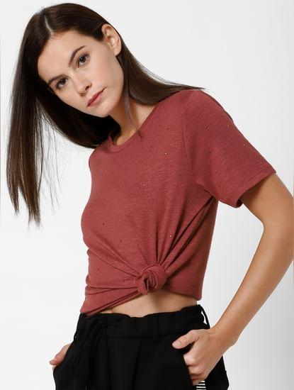 Red Embellished T-Shirt