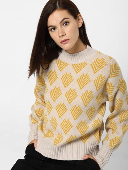 Beige Printed Pullover