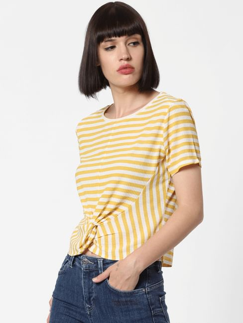 Yellow Striped Front Knot Top