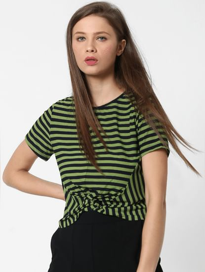 Green Striped Front Knot Top