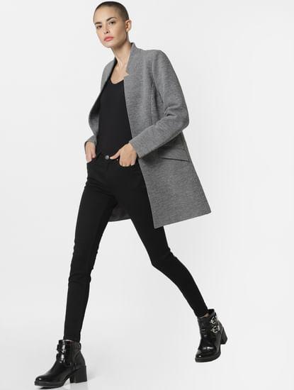 Grey Front Open Coat