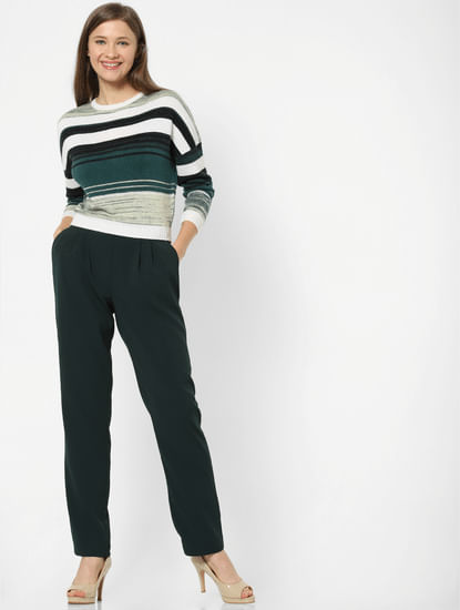 Dark Green High Rise Belted Pants