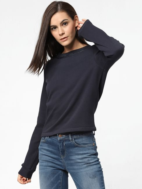 Navy Blue Chain Detail Sweatshirt