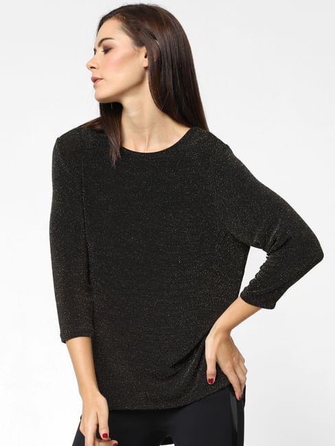 Black Shimmer Asymmetric Top