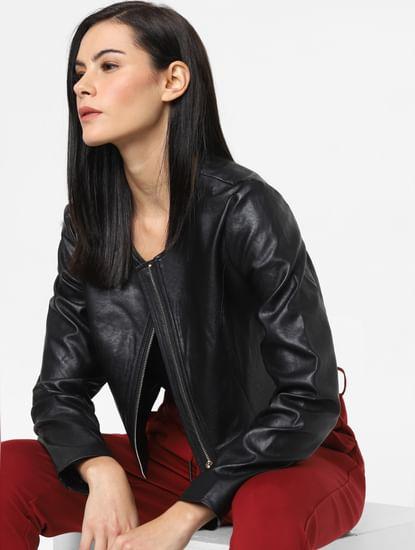 Black Cropped Faux Leather Jacket