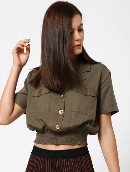 Green Smock Crop Top