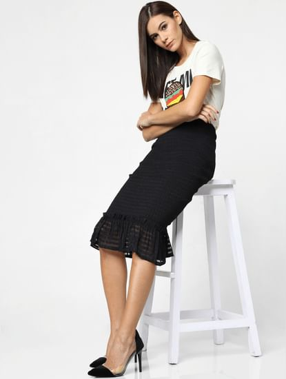 Black High Rise Smock Midi Skirt