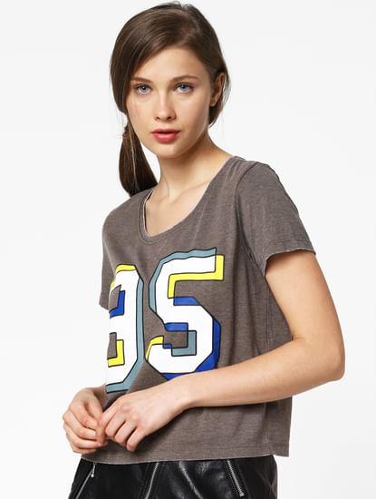 Brown Graphic Print T-Shirt
