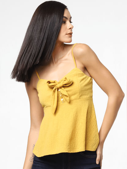 Yellow Front Bow Detail Top