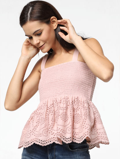 Pink Smock Frill Top
