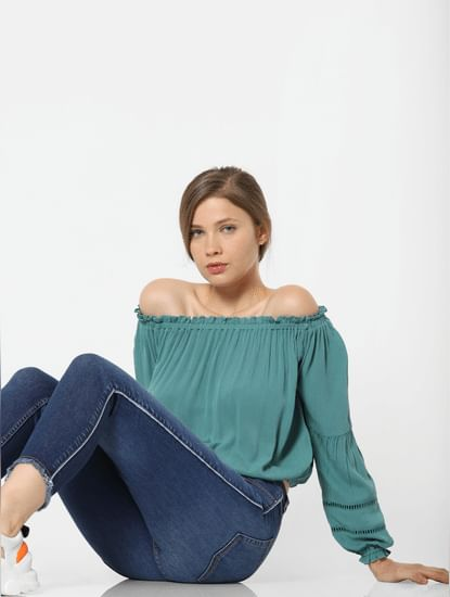Green Off-Shoulder Top