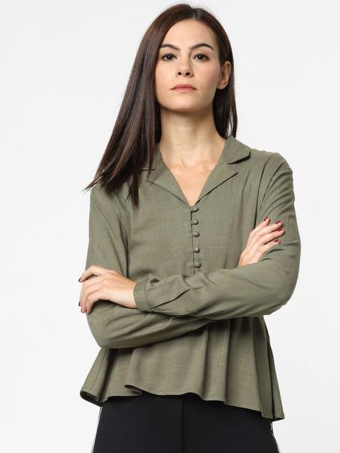 Green Cinched Waist Shirt