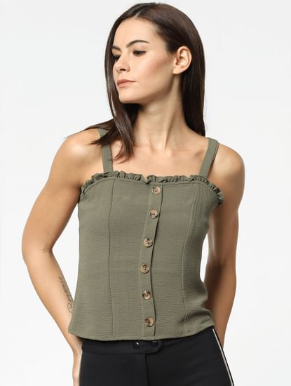 Green Smock Back Top