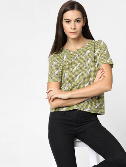 Yellow Houndstooth Print T-Shirt