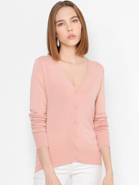 Pink V Neck Button Down Cardigan