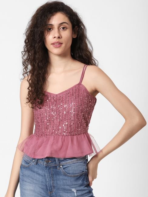 Pink Sequined Mesh Detail Top