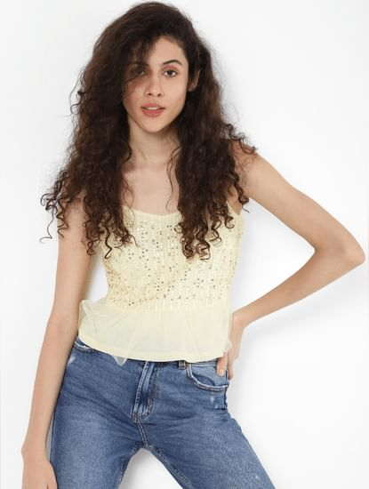 Light Yellow Sequined Mesh Detail Top