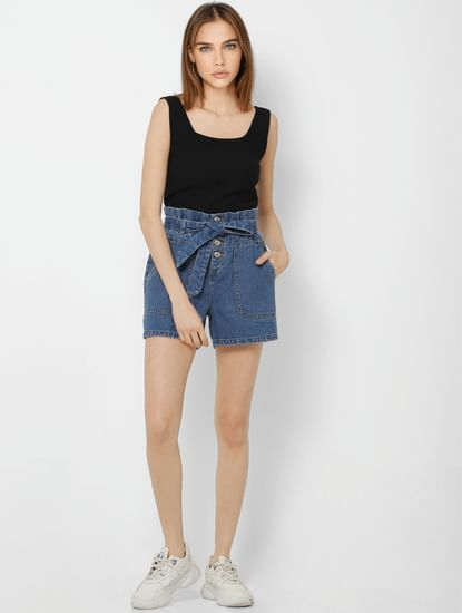 Blue High Rise Paperbag Waist Denim Shorts