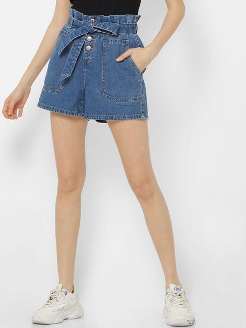 Blue High Rise Paperbag Waist Denim Shorts