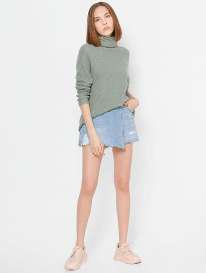 Green Turtle Neck Pullover